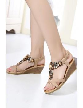 Apricot Beading Crossed Open Toe Boho Wedge Sandals