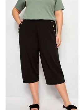 Black Pocket Button Decor Casual Plus Size Cropped Pants