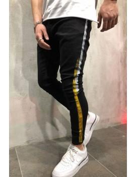 Men Black Stripe Side Casual Slim Jeans