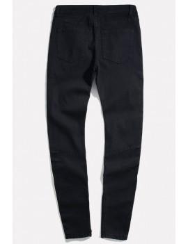 Men Black Side Tape Ripped Casual Slim Jeans