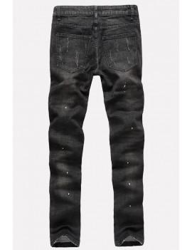 Men Black Ripped Zipper Decorate Casual Straight Jeans