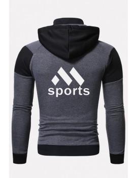 Men Black Letters Print Zipper Up Long Sleeve Hooded Sports Coats
