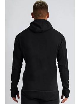 Men Black Printed Zipper Up Long Sleeve Casual Hoodie
