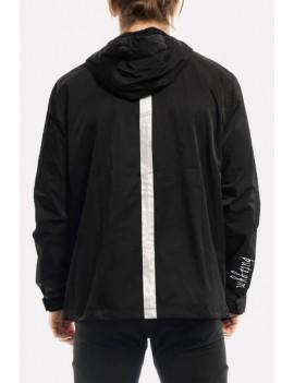 Men Black Letters Print Zipper Up Hooded Collar Sports Rain Jackets