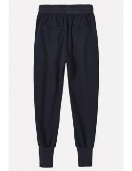 Men Black Pocket Drawstring Waist Sports Sweat Pants