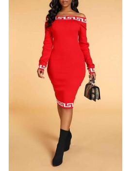 Lovely Casual Dew Shoulder Print Red Knee Length Dress