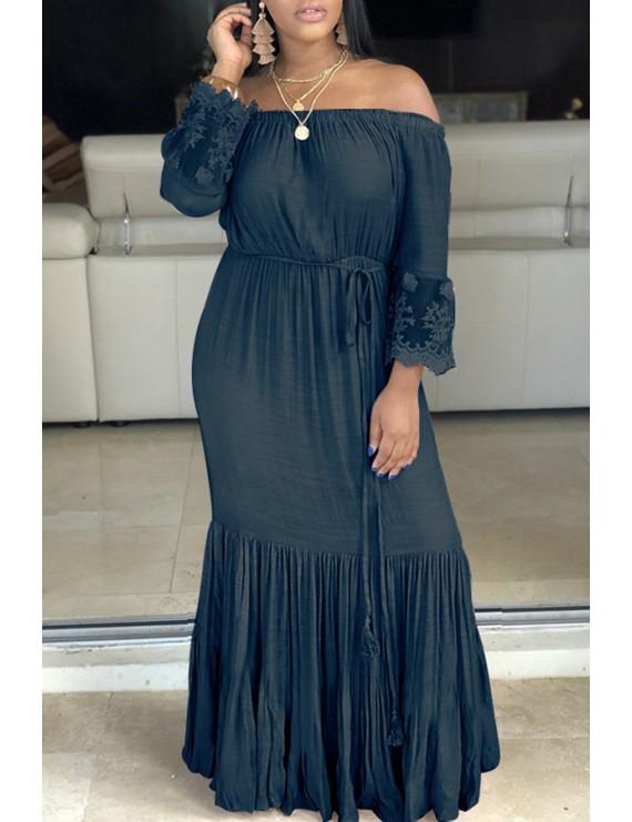 Lovely Sweet Ruffle Design Blue Floor Length Cake Dress