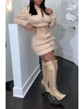 Lovely Casual Zipper Design Apricot Two-piece Skirt Set