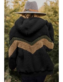 Black Faux Fur Chevron Pattern Zipper Up Casual Hoodie