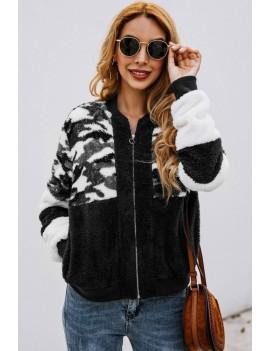 Black Faux Fur Camouflage Zipper Up Pocket Casual Sweatshirt