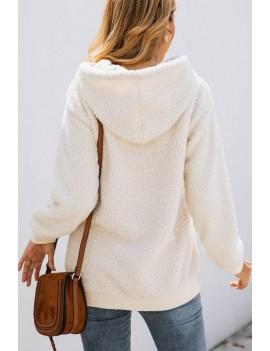 Beige Faux Fur Pocket Long Sleeve Casual Hoodie