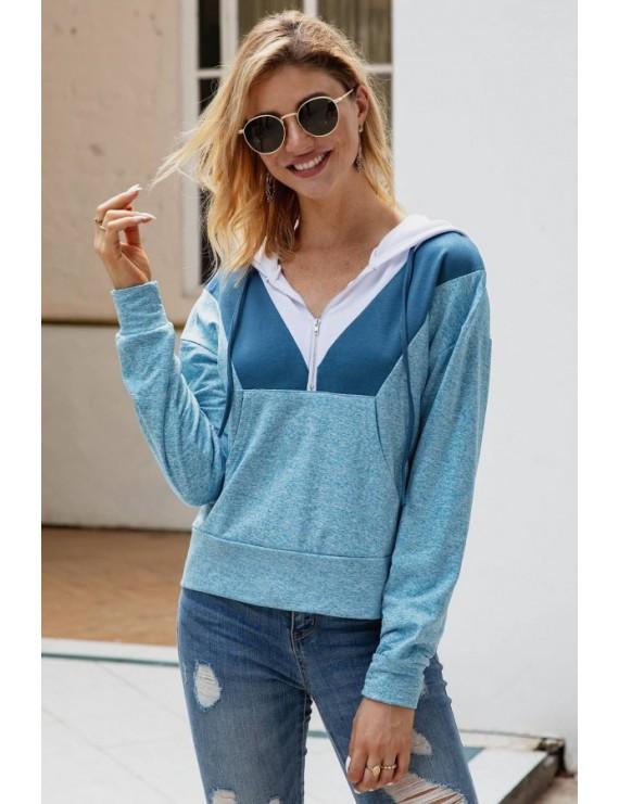 Sapphire Color Block Zipper Up Pocket Long Sleeve Casual Hoodie