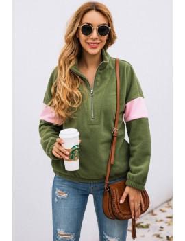 Army-green Two Tone Zipper Up Long Sleeve Casual Sweatshirt