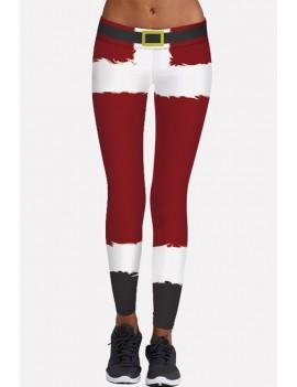 Dark-red Christmas Print Elastic Waist Vintage Skinny Leggings