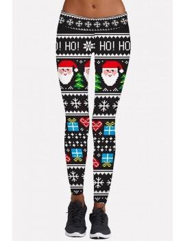 Black Santa Claus Print Elastic Waist Christmas Leggings