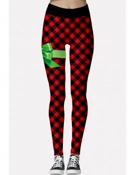 Black-red Plaid Print Elastic Waist Christmas Skinny Leggings