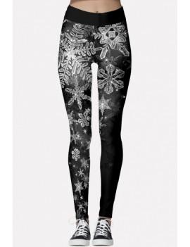 Black Snowflake Print Elastic Waist Christmas Leggings