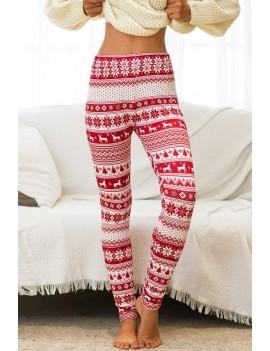 Dark-red Reindeer Elastic Waist Christmas Skinny Leggings