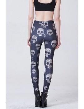 Black Skull Print Elastic Waist Halloween Leggings
