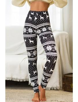 Black-white Reindeer Elastic Waist Christmas Skinny Leggings