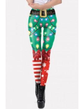 Green 3d Graphic Print Elastic Waist Christmas Skinny Leggings
