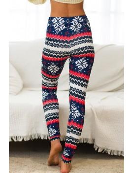 Dark-blue Reindeer Elastic Waist Christmas Skinny Leggings
