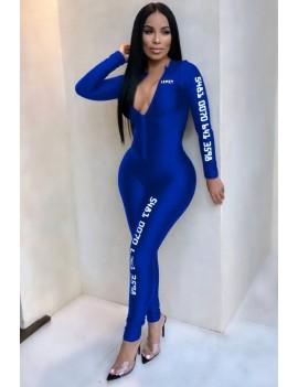 Blue Letters Print Zipper Up Long Sleeve Casual Jumpsuit