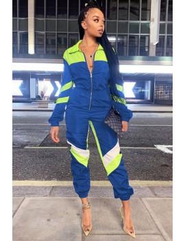 Blue Color Block Zipper Up Long Sleeve Casual Jumpsuit