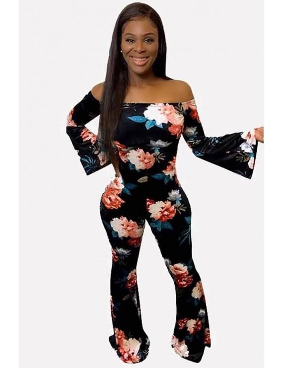 Black Floral Print Off Shoulder Casual Flared Jumpsuit