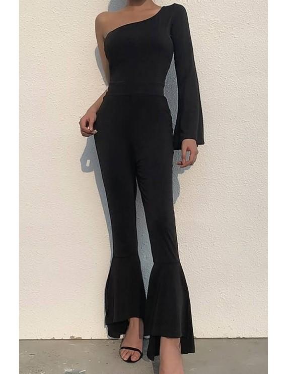 Black One Shoulder Flare Sleeve Casual Flared Jumpsuit
