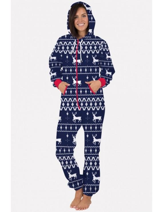 Elk Print Zipper Up Hooded Long Sleeve Christmas Jumpsuit