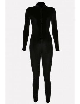 black velour zipper front mock neck long sleeve casual jumpsuit