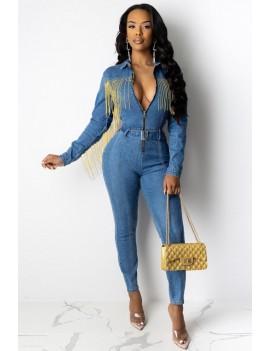 Blue Fringe Belt Zipper Up Long Sleeve Casual Denim Jumpsuit