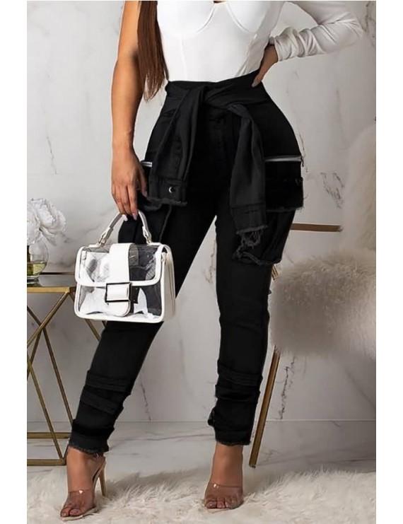 Black Chain Pocket Splicing High Waist Casual Jeans