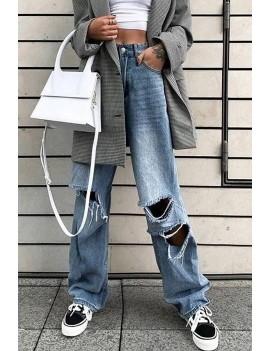 Blue Ripped High Waist Casual Wide Leg Jeans
