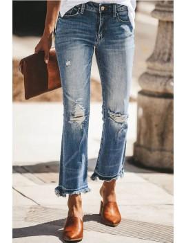 Blue Pocket Ripped Raw Hem Casual Jeans