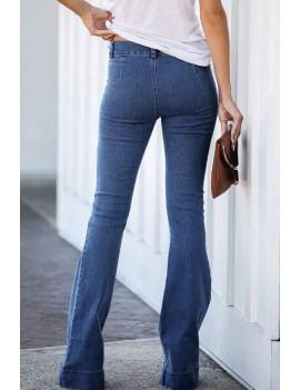 Blue High Waist Casual Flared Jeans