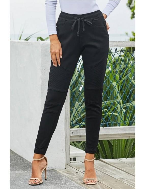 Black Drawstring Pocket High Waist Casual Jeans