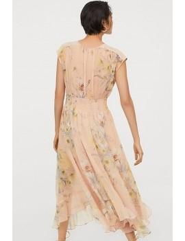 Light-pink Floral Print Shirred Sleeveless Casual Chiffon Dress