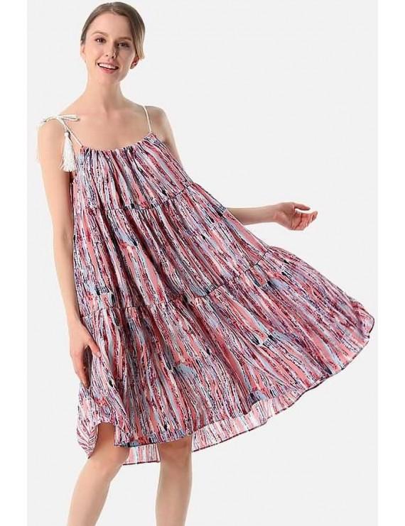 Watermelon Stripe Spaghetti Straps Sleeveless Casual Chiffon Dress