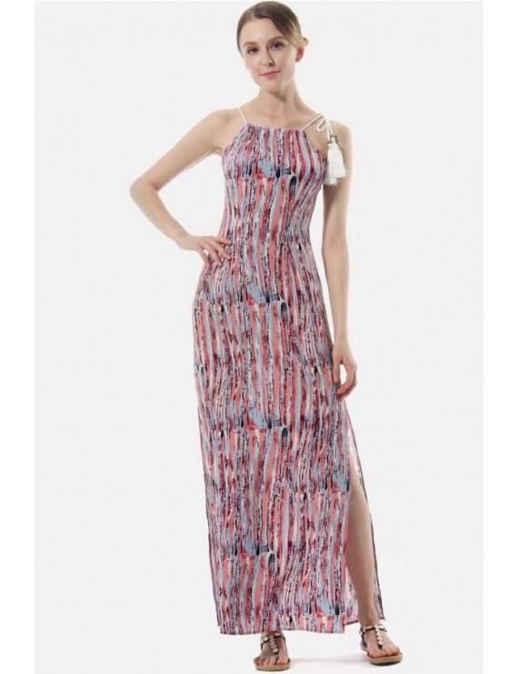 Watermelon Stripe Sleeveless Slit Side Casual Maxi Chiffon Dress
