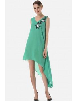 Green Embroidery Asymmetric Hem V Back Casual Chiffon Dress