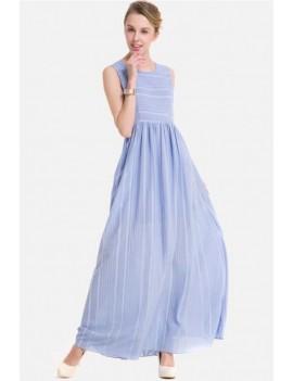 Light-blue Stripe Sleeveless Casual Maxi Chiffon Dress