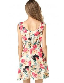 Floral Print Elastic Waist Sleeveless Chiffon Dress