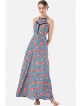 Light-blue Floral Print High Neck Crisscross Casual Maxi Chiffon Dress