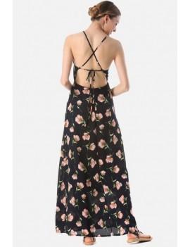 Dark-blue Floral Print High Neck Crisscross Casual Maxi Chiffon Dress