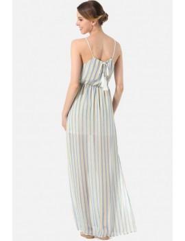 Light-blue Stripe Sleeveless Slit Side Casual Maxi Chiffon Dress