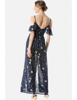 Dark-blue Floral Print Cold Shoulder Slit Side V Neck Casual Maxi Chiffon Dress