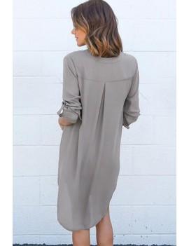 Gray V Neck High Low Casual Chiffon Shift Dress