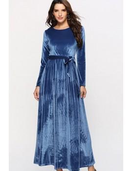 Blue Tied Long Sleeve Casual Maxi Velvet Dress